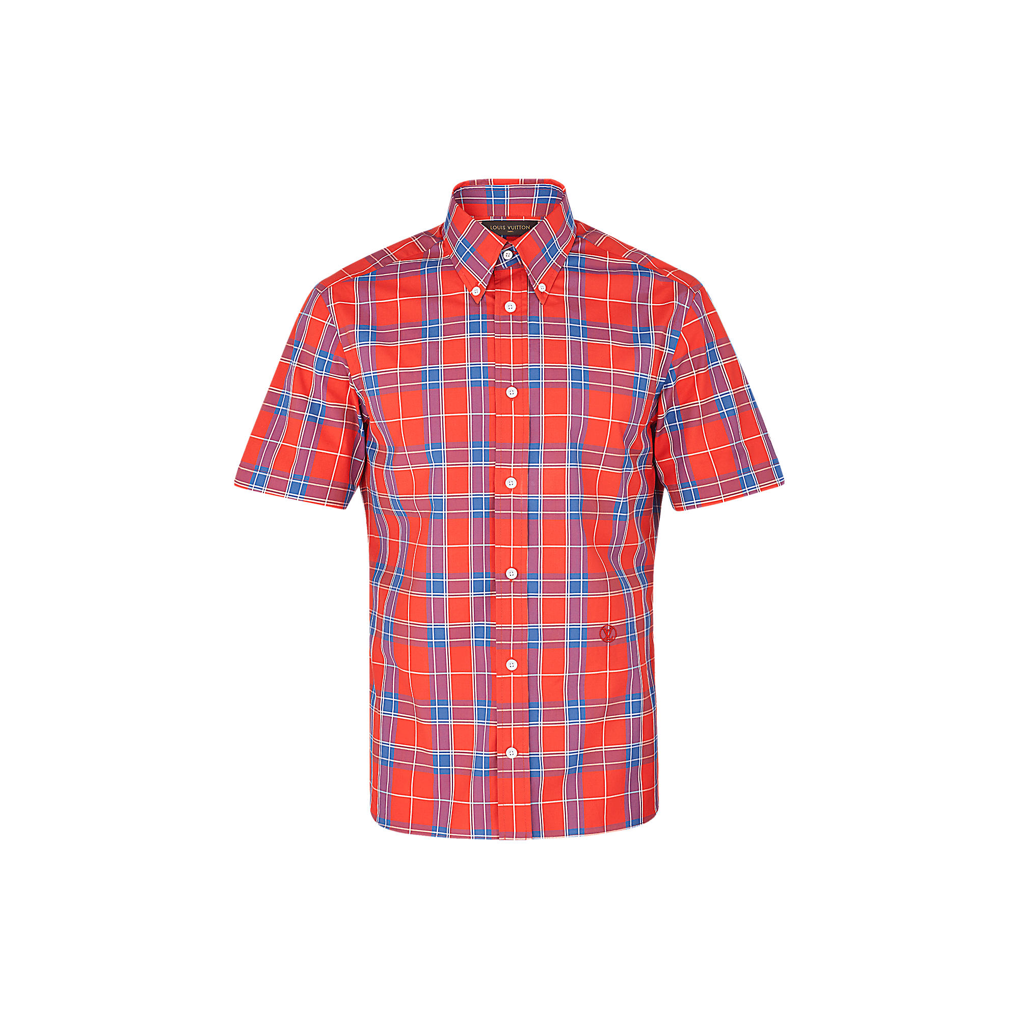 Louis Vuitton Uomo Camicia button-down ricamata a maniche corte